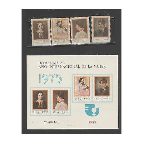 O) 1975 CHILE, INTERNATIONAL YEAR OF THE WOMAN, MOTHER, SET AND SOUVENIR, SLIGHT