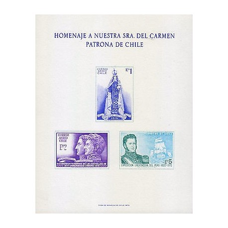 G)1970 CHILE, VIRGIN & CHILD-SAN MARTIN & O'HIGGINS-BERNARDO O'HIGGINS & SHIP, T