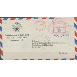 O) 1950 COSTA RICA, POST PAD, SOCIAL SECURITY, COVE TO UNITED STATES, XF
