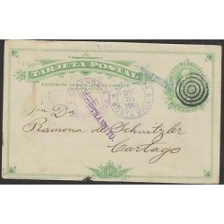 O) 1907 COSTA RICA, POSTAL STATIONARY, COLON 2 CENTIMOS GREEN, TRANSIT FOR LIMON