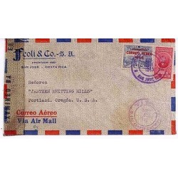 E) 1945 COSTA RICA, AIR MAIL WITH OVERPRINT, CIRCULATED COVER