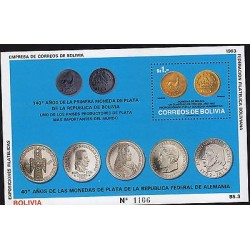 G)1993 BOLIVIA, COINS, 140 YEARS OF THE FIRST SILVER COIN UN BOLIVIA-40 YEARS OF