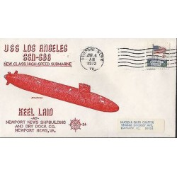 E)1972 UNITED STATES, NEW CLASS HIGH SPEED SUBMARINE, KEEL LAID, FLAG, AIR MAIL