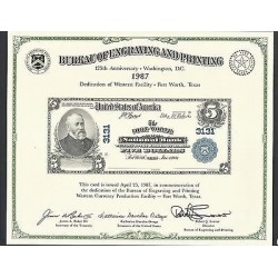 O) 1987 UNITED STATES - USA, MODERN PROOF BANKNOTE, ENGRAVING AND PRINTING, BEN