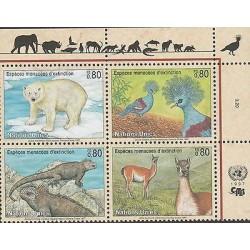 O) 1997 UNITED STATES-NATIONS UNITES, ENDANGERED ANIMALS, SET MNH