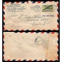 E)1946 UNITED STATES, RED CROSS, AIRPLANE, AIR MAL,CIRCULATED COVER TO MEXICO