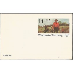 E)1986 UNITED STATES, STAMPED MINT UNUSED POSTAL CARD WISCONSIN TERRITORY
