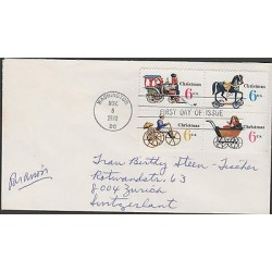 O) 1970 UNITED STATES, TRAIN, HORSE, ANTIQUE BICYCLE, FDC USED TO SWITZERLAND, X