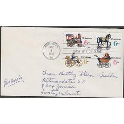 O) 1970 UNITED STATES, TRAIN, HORSE, ANTIQUE BICYCLE, FDC USED TO SWITZERLAND, X