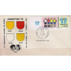 G)1978 ARGENTINA, WORLD CUP ARGENTINA '78, WORLD-FLAG-SOCCER BALL-UNIFORMS, FDC,