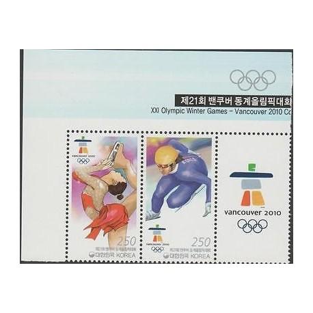 O) 2010 KOREA, XXI OLYMPIC GAMES - VANCOUVER 2010, SPORTS ON SKATES, SET MNH