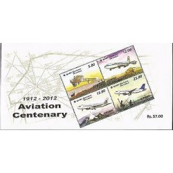 E)2012 SRI LANKA, AVIATION CENTENARY, AIRPLANES, S/S, MNH