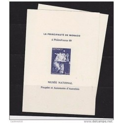 O) 1989 MONACO, PROOF CLOWN, THE PRINCIPALITY OF MONACO, PIERROT ECRIVAIN, MNH