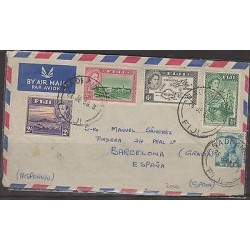 O) 1956 FIJI, SAILBOAT, KING AND QUEEN, COVER TO SPAIN, XF