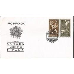 E)1956 SPAIN, PRO CHILDREN, PLANTS, FDC