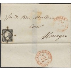 O) 1840 SPAIN, ISABEL 1SST ISSUE CIRCULATED COVER FROM MANZAS TO ALMAGRO LA MANC