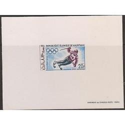 E)1968 MAURITANIA, APLINE SKI, PROOF, MEXICO OLYMPICS, SOUVENIR SHEET, MNH
