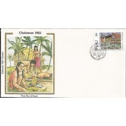 E)1983 PALAU, CHRISTMAS, TRADITIONAL FEAST AT THE BAI, PEOPLE, INDIANS, FDC
