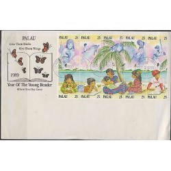 O) 1989 PALAU, TREE, GIRLS, CHILDREN, DOLPHIN, OSTRICH, YEAR OF THE YOUNG READER