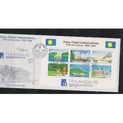 O) 1988 PALAU, MAILBOX, MAIL BOAT, POSTAL INDEPENDENCE, FIFTH ANNIVERSARY, FDC X