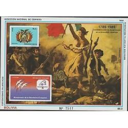 O) 1989 BOLIVIA, FRENCH REVOLUTION - PAINTING DELACROIX, SOUVENIR MNH