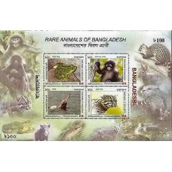 G)2011 BANGLADESH, RARE ANIMALS FROM BANGLADESH, FROG-MONKEY-RIVER DOLPHIN-LEOP