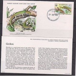 E)1978 MAURITIUS, WWF, WORD WILDLIFE FUND, ANIMALS, REPTILES, GECKOS, FDC