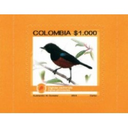 RO)2015 COLOMBIA, BIRD, ENDEMIC BIODIVERSITY ENDANGERED, BIRD DIGLOSA PECHIRRUF