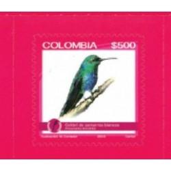 RO)2015 COLOMBIA, BIRD-ENDEMIC BIODIVERSITY ENDANGERED, COLIBRI DE ZAMARROS BLAN