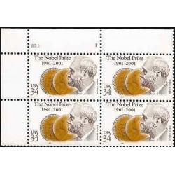 G)2001 USA, ALFRED NOBEL-MEDALS, THE NOBEL PRIZE 100TH ANNIVERSARY, B/4, MNH