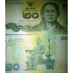 O) 2013 THAILAND, BANKNOTE 20 BAHT, BHUMIBOL ADULYADEJ-KING-RAMA IX,ANANDA MAHID
