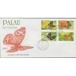 O) 1990 PALAU, BUTTERFLIES, FLOWERS, FDC XF