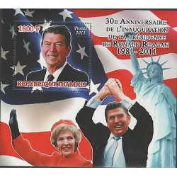 RO)2011 REPUBLIC OF MALI, PRESIDENT-RONALD REAGAN, NANCY REAGAN, FLAG , STATUE O