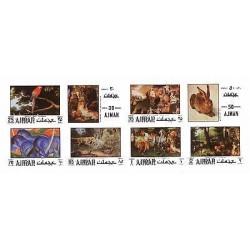 E) 1977 UNITED ARAB EMIRATES, AJMAN, ART, ANIMALS, RABBIT, MACAW, SET