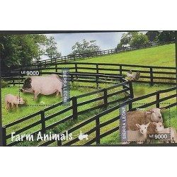 O) 2014 SIERRA LEONE, PIG, SHEEP, SOUVENIR MNH