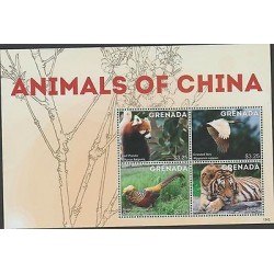 O) 2013 GRENADA, BEAR - RED PANDA, BIRDS CRESTED IBIS - GOLDEN PHEASANT, TIGER,