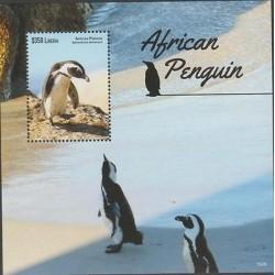 O) 2015 LIBERIA, SEABIRD - PENGUIN - SPHENISCIDAE, HABITAT, SOUVENIR MNH
