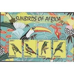 O) 2014 TANZANIA, BIRDS - SUNBIRDS, SOUVENIR MNH