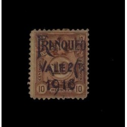 E) 1918 PERU, WITH SHIEFTED OVERPRINT UPWARDS