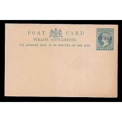 E)1887 GREAT BRITAIN, PERAK SHAITS SETTEMENTS, POSTAL STATIONERY, XF