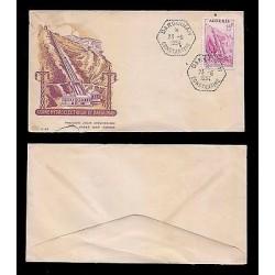 E)1954 ALGERIA, HYDROELECTRIC PLANT DARGUINA, ERROR-INVERTED IMAGE, FDC
