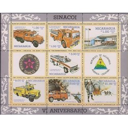 E)1985 NICARAGUA, FIREFIGHTERS, FIRE TRUCKS, EMERGENCY, NATL. FIRE BRIBADE