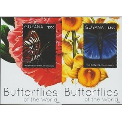 O) 2012 GUYANA, BUTTERFLIES OF THE WORLD, FLOWERS, SOUVENIR FOR 2, MNH