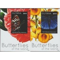 O) 2012 GUYANA, BUTTERFLIES OF THE WORLD, FLOWERS, SOUVENIR FOR 2, MNH