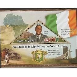 O) 2012 IVORY COAST, MAP, ELEFANT, FLAG, VILLAGE, PRESIDENT-ALASSANE OUATTARA, S