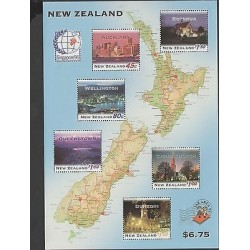 O) 1995 NEW ZEALAND, MAP, ARCHITECTURE, SINGAPURE WORLD STAMP EXHIBITION, MNH