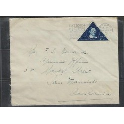 O) 1936 NETHERLANDS, THEOLOGIST DESIDERIUS ERASMUS, TRIANGLE,COVER TO UNITED STA