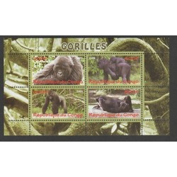 O) 2009 REPUBLIC OF CONGO-AFRICA, GORILLAS-HABITAT, SOUVENIR MNH