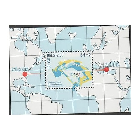 O) 1996 BELGIUM, OLYMPIC, HOOGSPRINGED SAUT EN HAUTEUR, SOUVENIR MNH