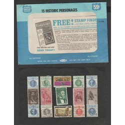 O) 1964 UNITED STATES, 15 HISTORIC PERSONAGES, SET MINT XF.-
